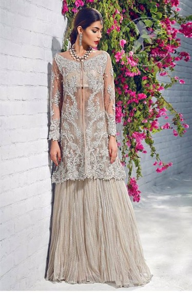 Beige Front Open Gown – Crushed Lehenga | Latest Asian Bridal Wear ...